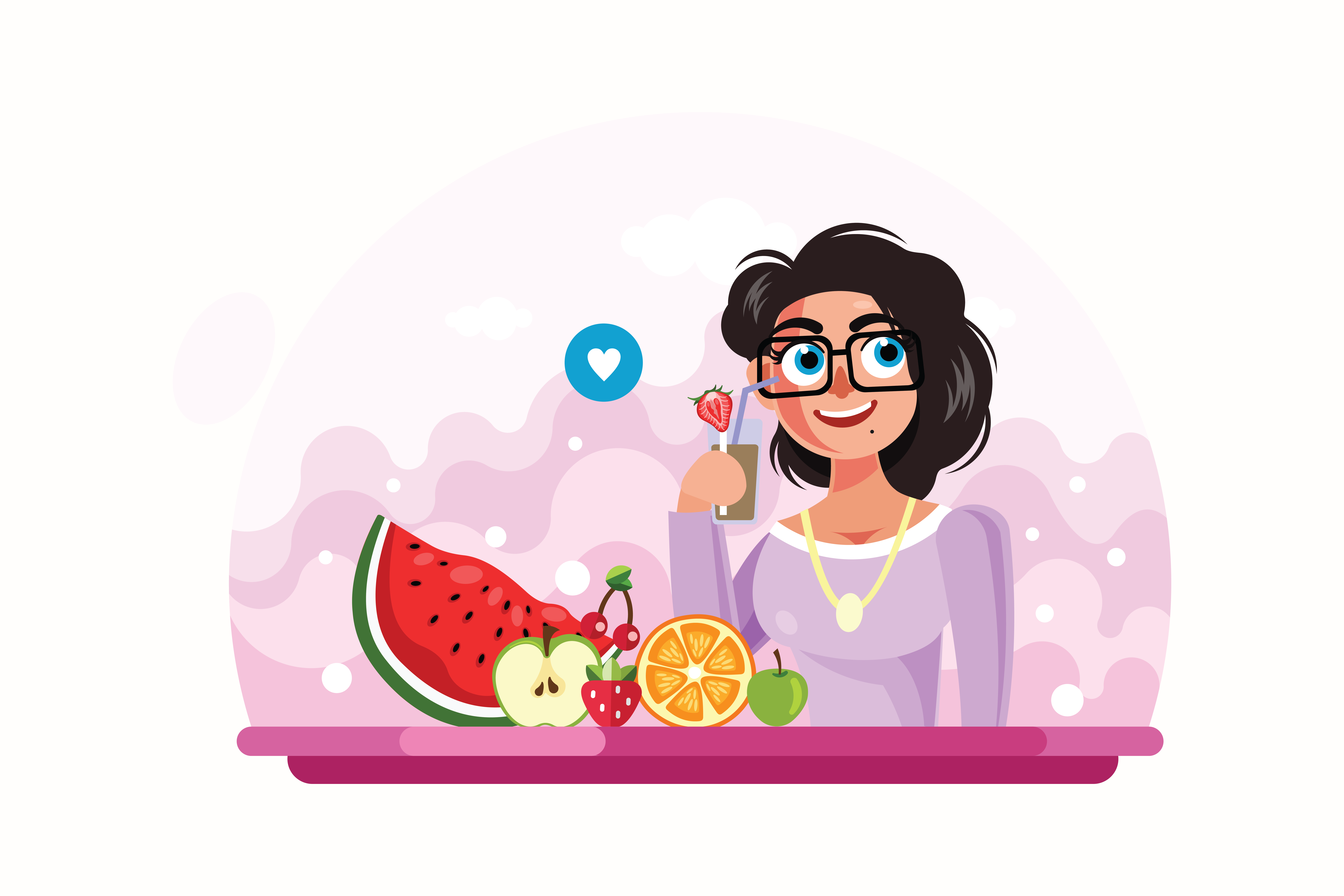 Young-Girl-Drinking-Juice-Vector-Illustration