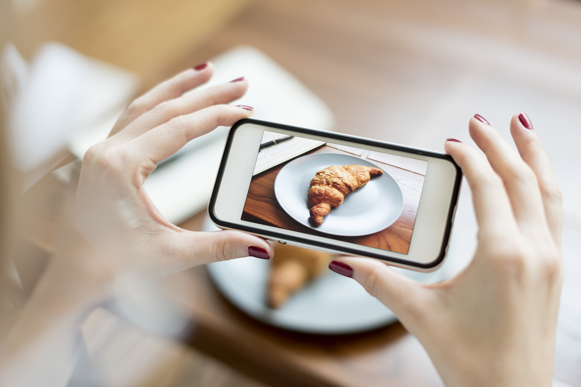 Woman Photographer Food Croissant Photography Concept