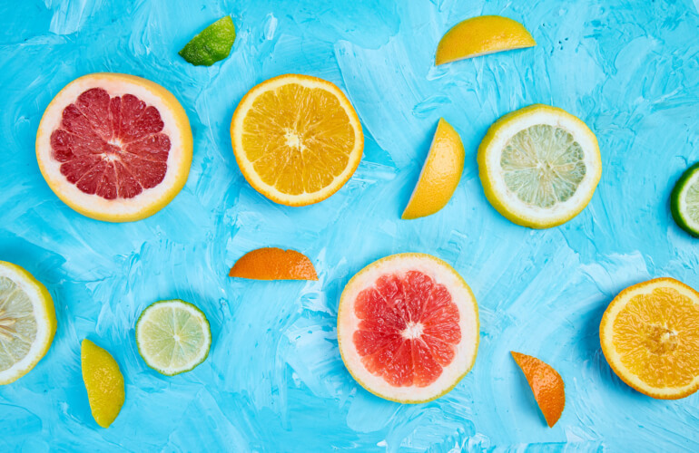 Colorful pattern made of slices citrus